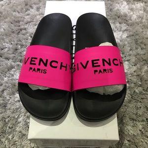 Hot pink givency slides